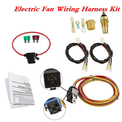 Car Engine Cooling Dual Electric Fan Wiring Harness Thermostat 40Amp Relay Kit