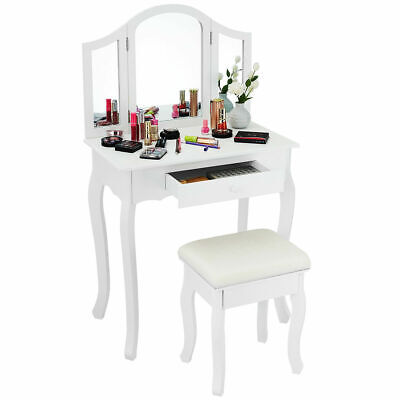White Tri Folding Mirror Vanity Makeup Table Set Bathroom W/