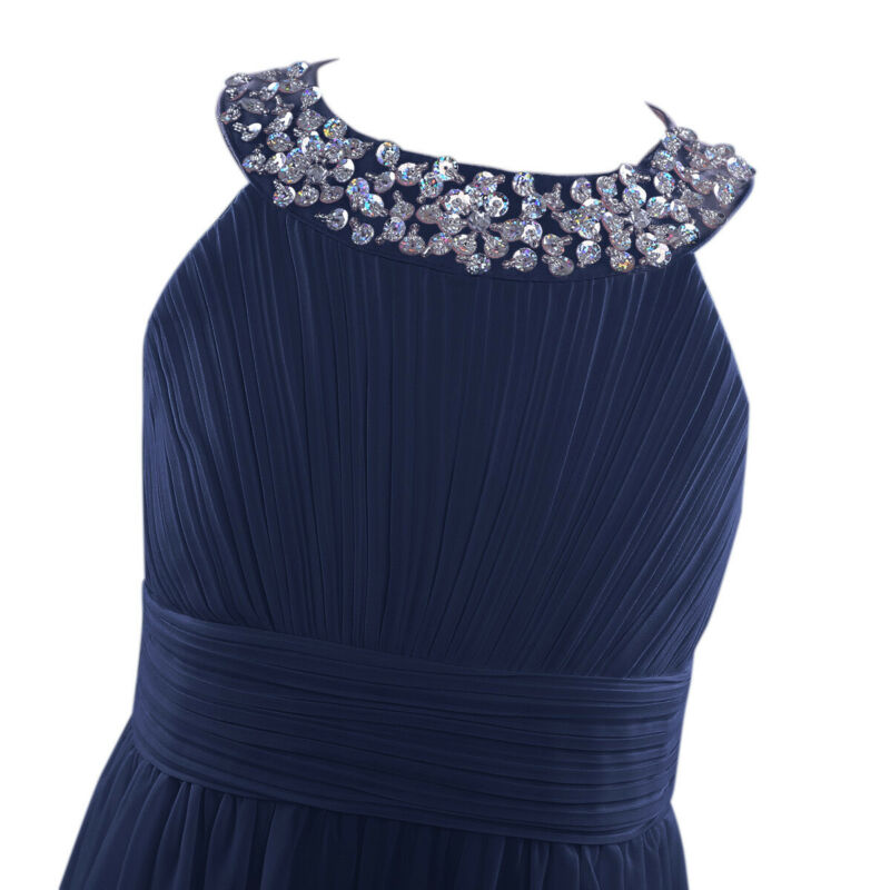 Kids Girls Sequined Halter-Neck Chiffon Long Bridesmaid Dress Pageant Prom Gown