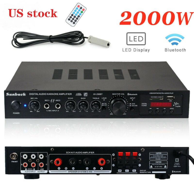 5Ch 2000W 220V bluetooth Home Stereo Power Amplifier Receiver Amp Hi-Fi FM SD US