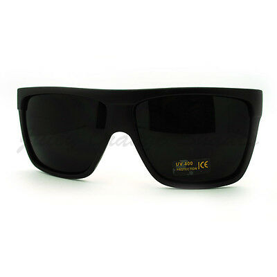 SUPER Dark Black Lens Sunglasses Flat Top Square Oversized Mob Style ()