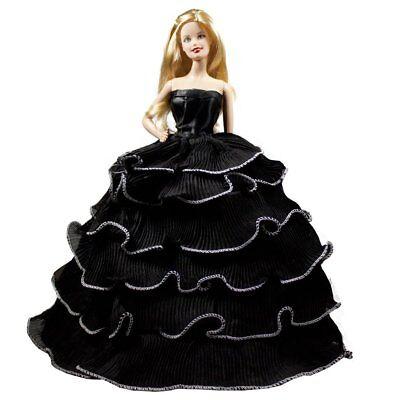 Barbie Strapless Gown - Barbie Black Romantic Ball Gown Strapless Layered Ruffle Black Prom Gown Dress