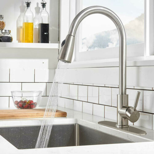Single Handle High Arc Brushed Nickel Kitchen Sink Faucet with Pull Down Sprayer