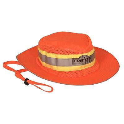 Safari Hard Hat (Radians Boonie Safari Safety Hat Orange Mesh with Reflective Stripe,)