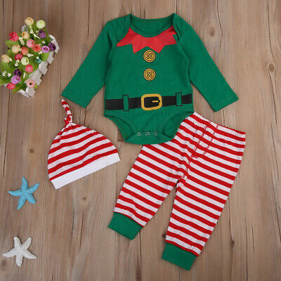 Newborn Santa Outfit Boy (Newborn Toddler Kids Boy Girls Christmas Santa Romper Pants Xmas Party Outfit)
