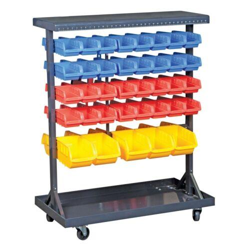 74 Bin Mobile Double Sided Floor Rack Portable Rolling Storage Organizer Trays