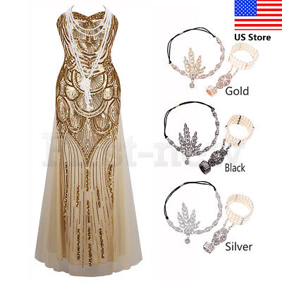 1920s Flapper Great Gatsby Dress Vintage Downton Abbey Sequins Gown Long Dresses - Long Great Gatsby Dress