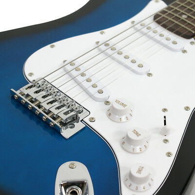 Купить Full Size Blue Electric Guitar with Amp, Case and Accessories Pack Beginner