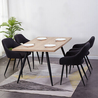 2/4/6 Dining Chairs Charcoal Black Arm Chair Padded Seat Kitchen Restaurant Home
