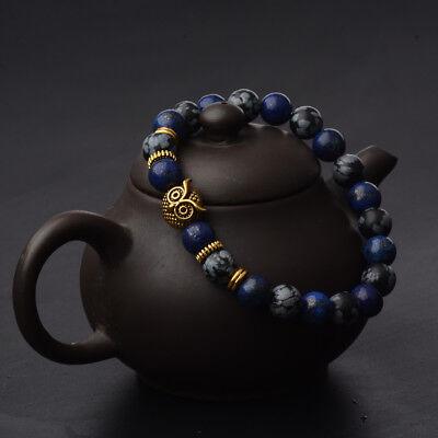 Men Spot Owl 8MM Beaded Natural Lava Stone Gold Silver Charm Fashion - Beaded Charm Bracelets