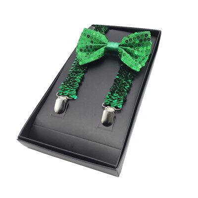 St Patricks Day Sequin Green Suspenders & Bowtie Set - Shiny Green Sequined - St Patricks Day Suspenders