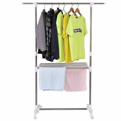 Folding Drying Rack Extendable Rolling Storage Hanger Adjust