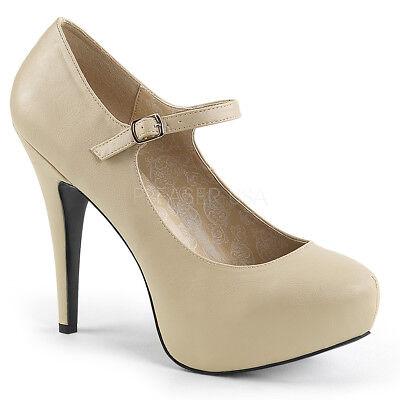 Pleaser CHLOE-02 Womens Mary Jane Platform Pumps Cream Faux Leather High Heel ()