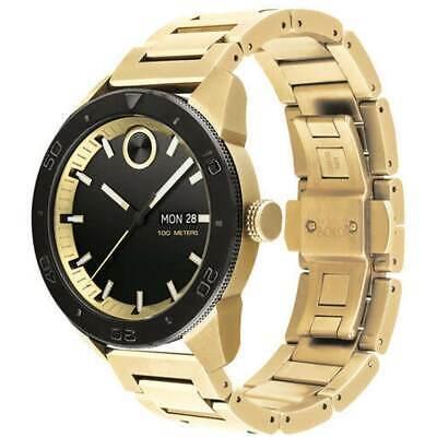 Movado Men's Watch Bold Quartz Black Dial Yellow Gold Bracelet 3600605