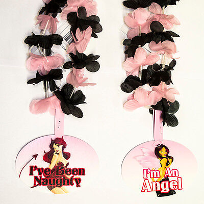 6 Naughty Nice Pink Black Tropical Flower Bachelorette 36in Party Lei - Pink Leis