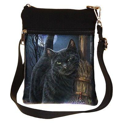 Gothic Wicca Pagan Hexe Tasche Umhängetasche Katze Hexenbesen Lisa Parker
