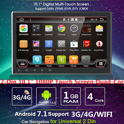 "2Din 10.1""Android 7.1 4 Core Car Stereo GPS Nav Radio Navigation Wifi 3G/4G"