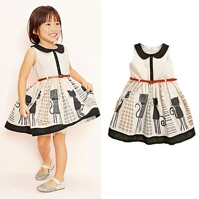 Cute Cat Toddler Baby Flower Girls Princess Party Dresses Kids Clothing Costume (Toddler Flower Costume)