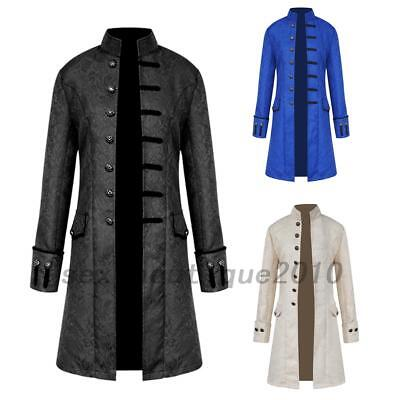 Mens Retro Gothic Brocade Jacket Frock Coat Steampunk Victorian Morning Coat Hot - Steampunk Jacket Mens