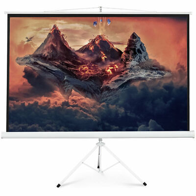 """New Portable 100"""" Projector 16:9 Projection Screen Tripod Pull-up Matte White"""