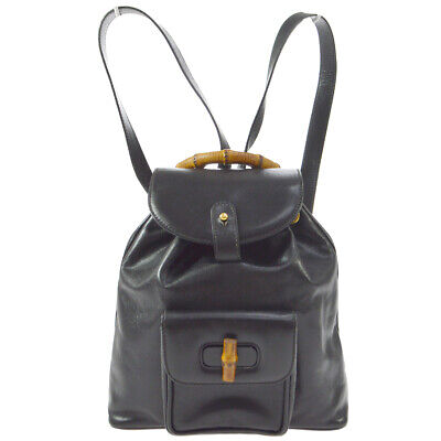 GUCCI Bamboo Line Backpack Hand Bag Purse Black Leather Italy Vintage AK25854h