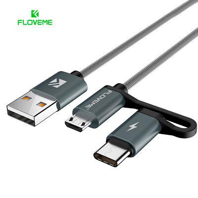 Cable compuesto Micro USB y USB-C nailon carga rapida FLOVEME Quick Charge...