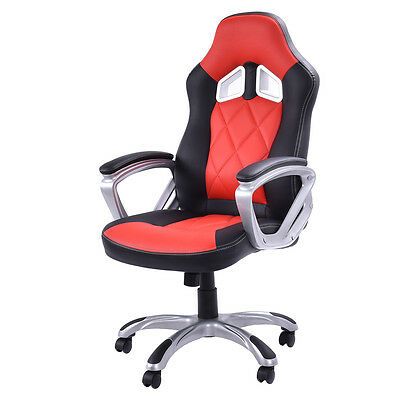Boisterous Back Racing Style Bucket Seat Gaming Chair Swivel Office Desk Blame Red New