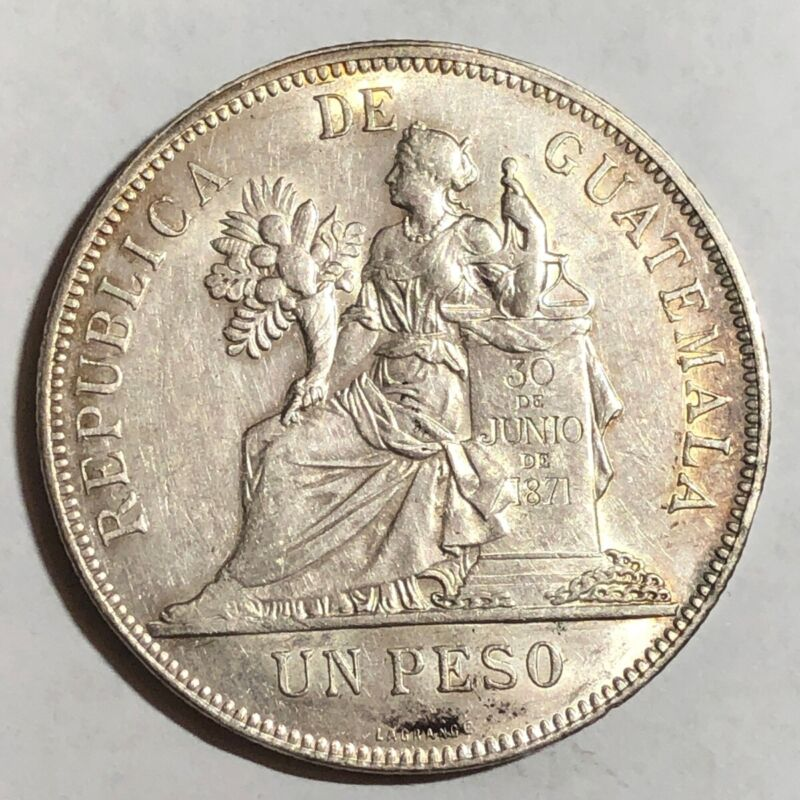 1897 Guatemala UN PESO, AU-UNC slider. #md1    (large crown-sized silver coin)