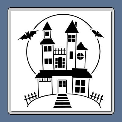 12 X 12 Spooky Haunted House STENCIL Template Halloween/Bats/Full Moon/Mansion
