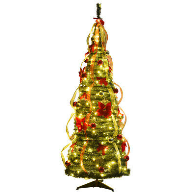 6ft Pre-Lit Christmas Tree Fully Decorated Pull Up Tree Flat-to-Fabulous -