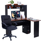 Corner Computer Desk L-Shaped Workstation Home Office Student Furniture + Chair