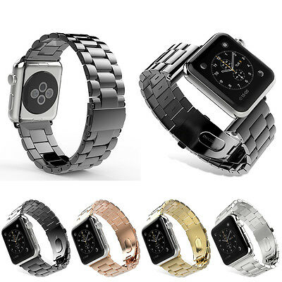 Stainless Steel Folding Clasp - Solid Stainless Steel Folding Clasp Watch band Strap For Apple Watch Series 4 3
