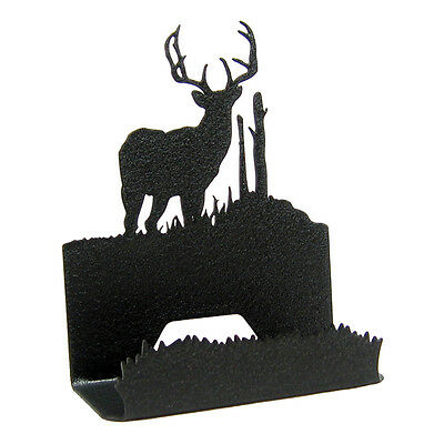 Buck Deer Black Metal Business Card Holder
