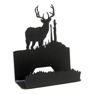 Buck Deer Black Metal Business Card Holder