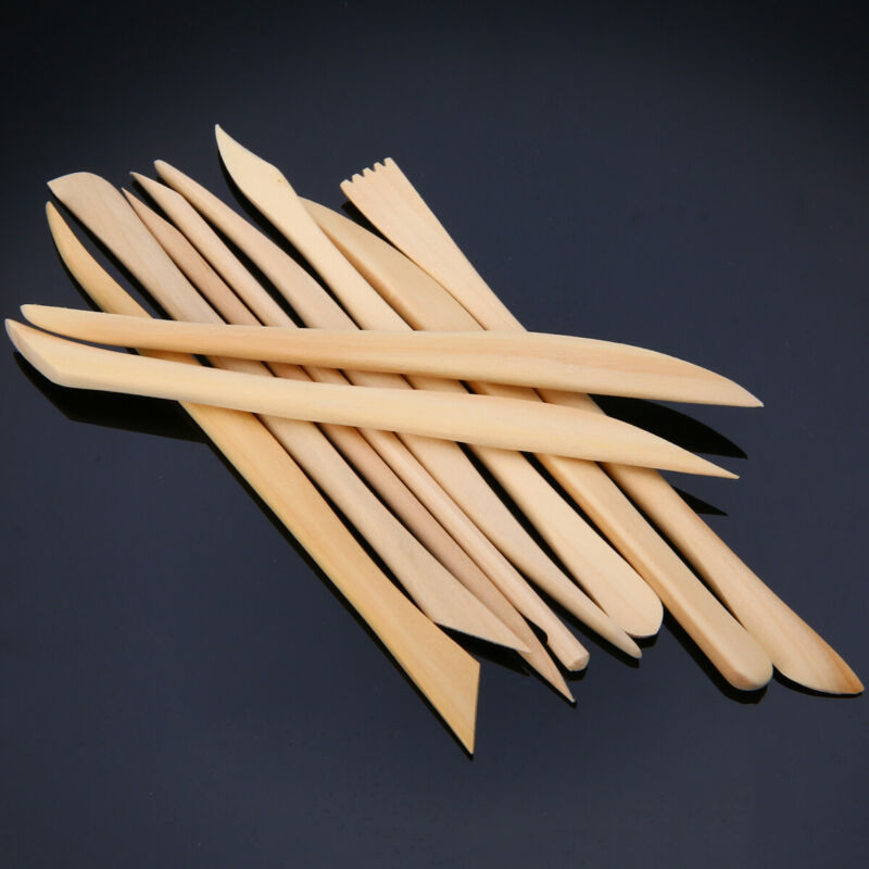 10pcs Wood Wooden Clay Modeling Tools Set Polymer Clay Sculp