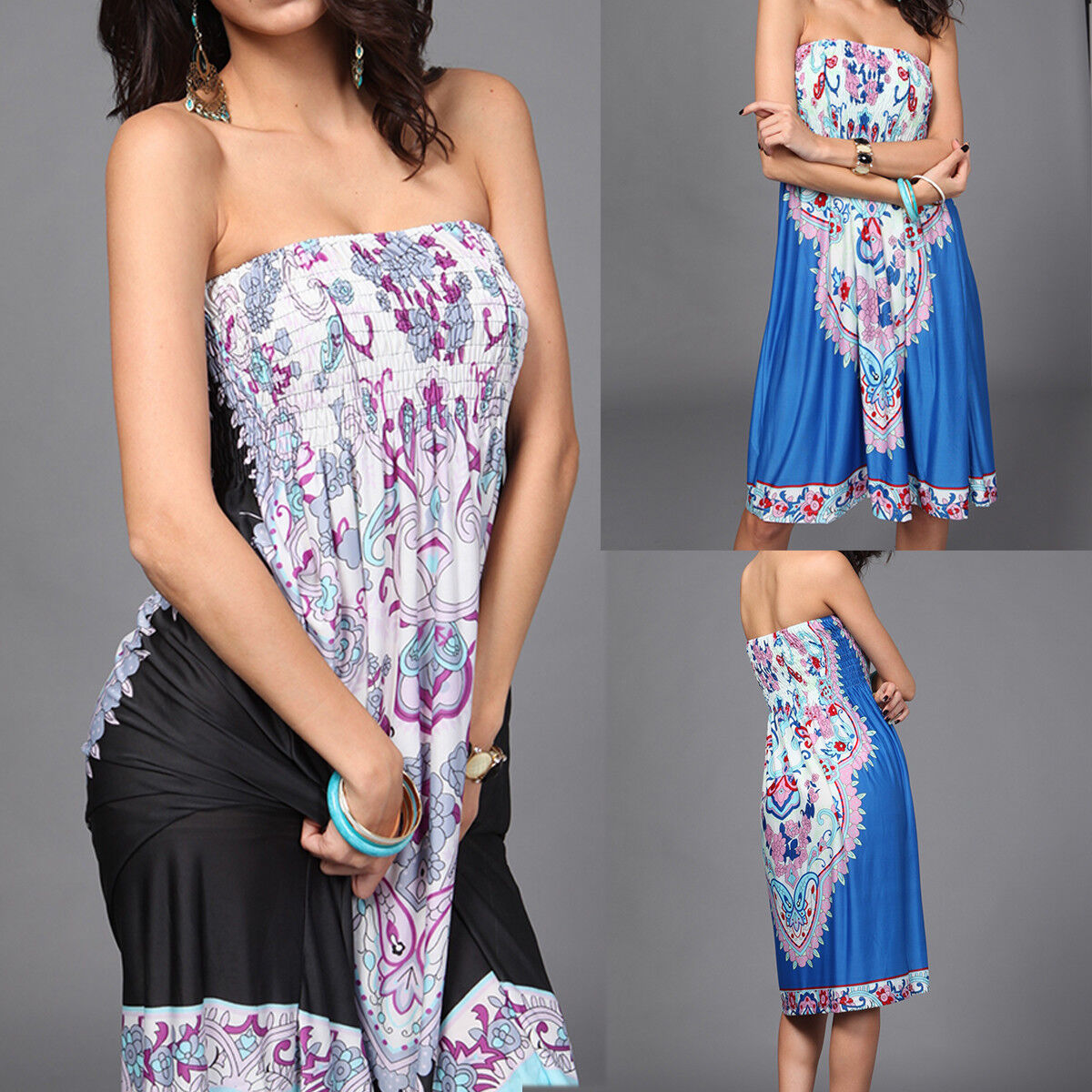New Women's Strapless Tube Top Dress Summer Beach Boho Short Mini Sundress US Clothing, Shoes & Accessories