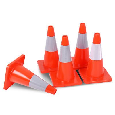 5pcs Traffic Cones 18 Slim Fluorescent Reflective Road Safety Parking Cones New