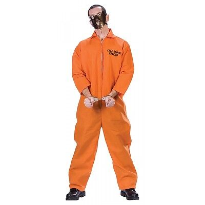 Prisoner Costume Adult Insane Convict Orange Jumpsuit Halloween Fancy Dress (Insane Halloween Costume)