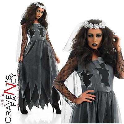 Ladies Corpse Bride Costume Halloween Fancy Dress Costume Gothic Adult UK 8-30