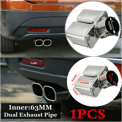 Silver Muffler Tip End Trim Stainless Steel Tail Pipe 2.5