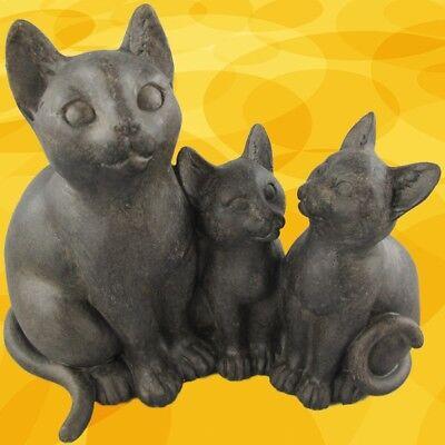 Katzen Figur +2 Kätzchen Polystein Geschenk Dekoration Standfigur Skulpturen