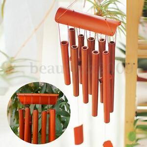 10 Tubes Wind Chime Bamboo Wood *70cm Drop* Garden Ornament Rectangular Bells