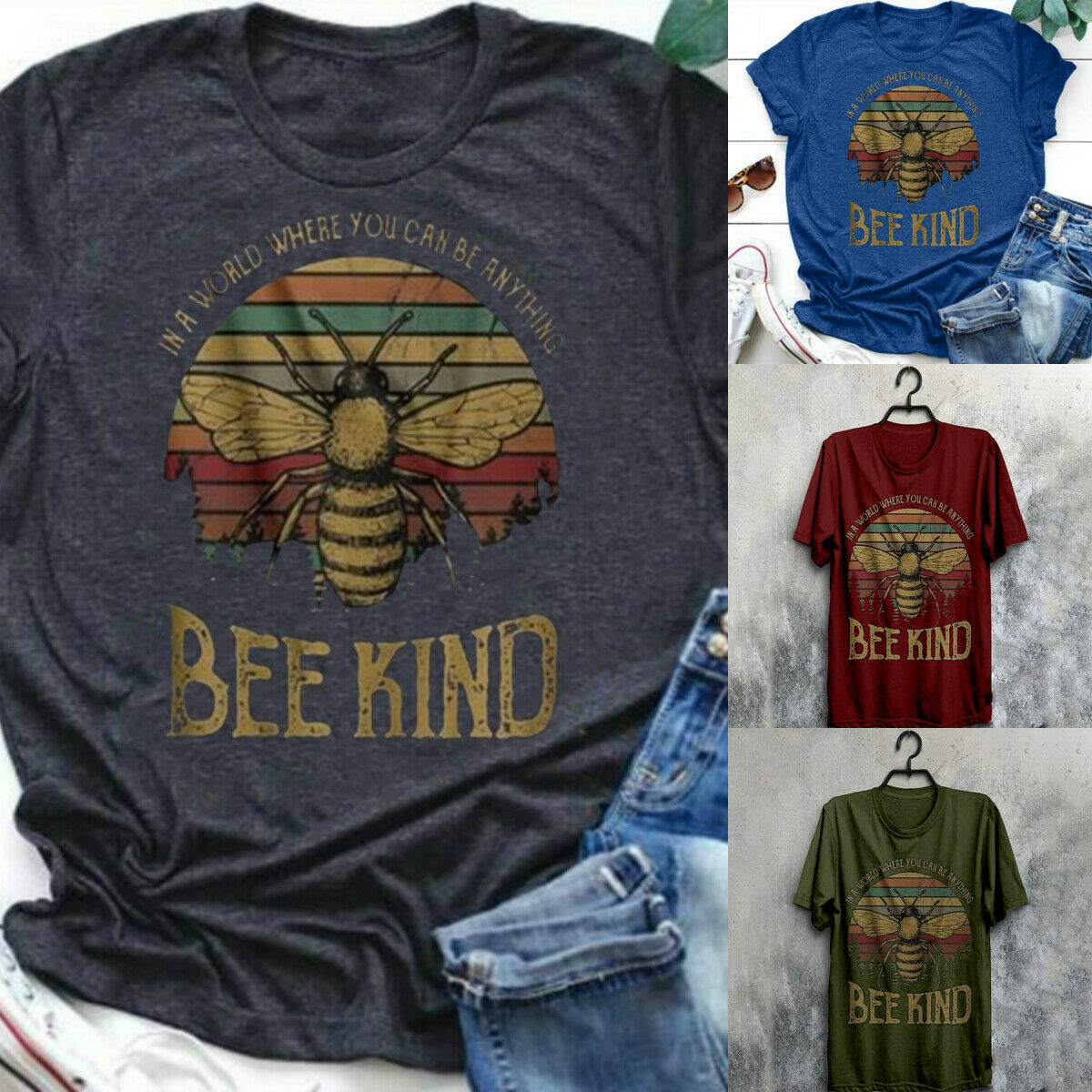 Women Animal Print Bee Tops Casual T Shirts Blouse Graphic T