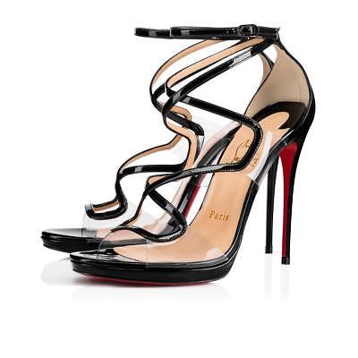 NIB Christian Louboutin Artisteric 120 Black PVC Ankle Strap Sandal Heel Pump 41
