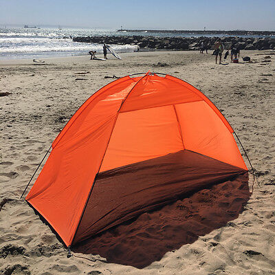 Orange Beach Umbrella Tent Weather Shelter Sand Sun Shade Outdoor UV Protect