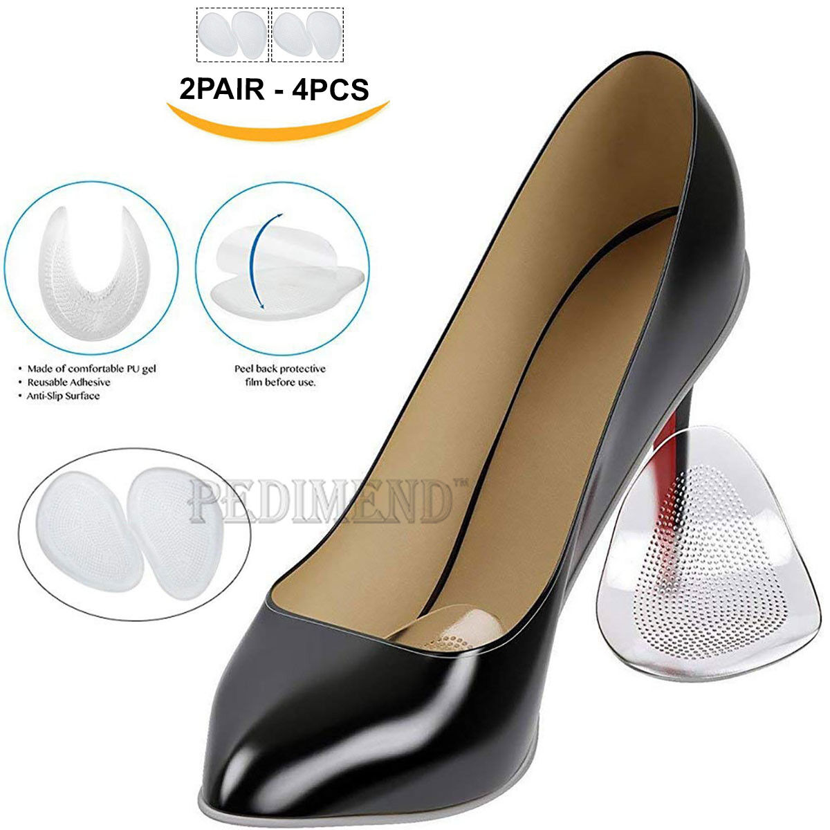 009eaf59212be6 Details about PEDIMEND™ Self-Adhesive Metatarsal Silicone Gel Pads Cushion  for High Heel 2PAIR