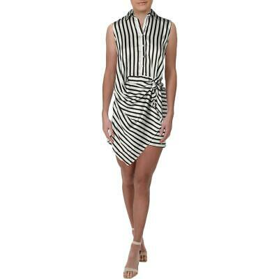 Aqua Womens Striped Sleeveless Daytime Wrap Dress BHFO 8851