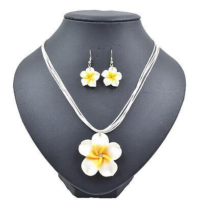 Lady Summer Beach Hawaiian White Frangipani Flower Necklace Earrings Jewelry - Hawaiian Necklaces
