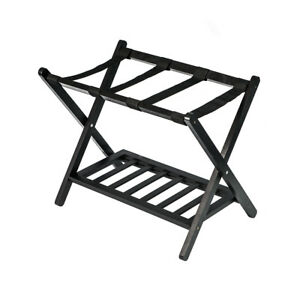 Suitcase Luggage Rack Wood Folding Baggage Hotel Travel Storage Shoe Shelf  Stand