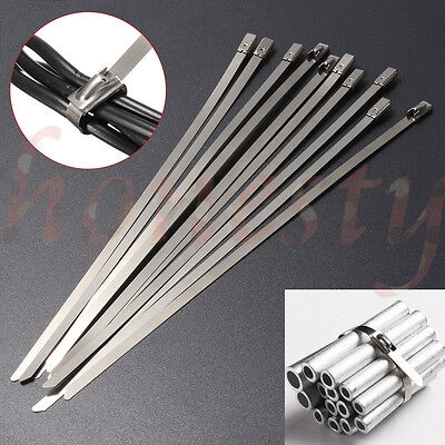 510pcs Stainless Steel Metal Cable Zip Ties Strap Locking Exhaust Pipe Header